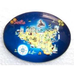 Magnete ovale Sicilia cm 7x5 in vetro