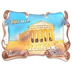 Magnete pergamena con tempio di Agrigento in resina cm 7x5