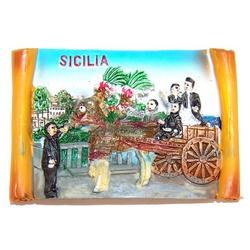 Magnete pergamena con carretto siciliano in resina cm 7x5