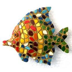 Magnete pesce mosaico in resina cm 7