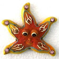 Magnete stella in resina con strass cm 6