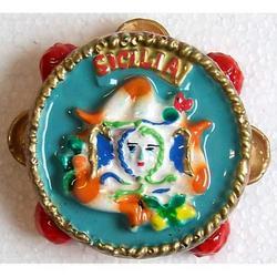 Souvenir Magnete Tamburello in ceramica cm 7x7