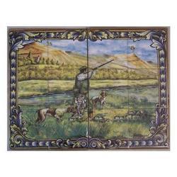 Mosaico con Cacciatore 12 piastrelle ceramica cm 60x45