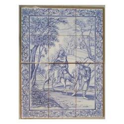 Mosaico Sacra Famiglia con asinello 12 piastrelle cm 60x45
