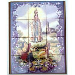 Mosaico Madonna Fatima e pastorelli 12 piastrelle ceramica