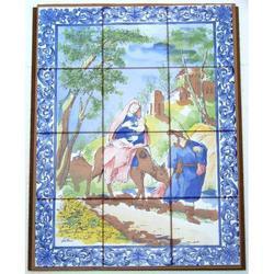Mosaico Sacra Famiglia con asinello con 12 piastrelle ceramica