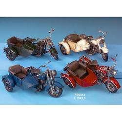 Moto Sidecar Epoca in metallo cm 15x9.5 Set 4 pezzi assortiti