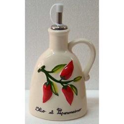 Oliera con decoro Peperoncino in ceramica cm 18x10