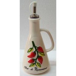 Oliera con decoro Peperoncino in ceramica cm 22x9