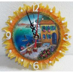 Orologio girasole in resina cm 12x12