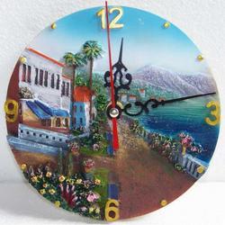 Orologio rotondo in resina con paesaggio marino cm 15