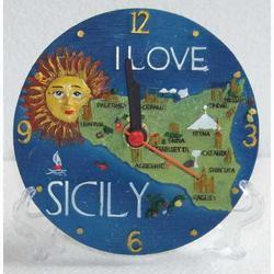 Orologio rotondo Sicilia in resina con treppiede cm 10.5
