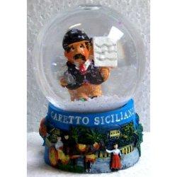Palla di Neve in vetro con Mafioso in resina cm 7x4
