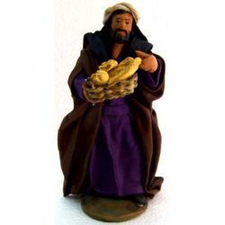 Personaggio per Presepe con pane cm 12 terracotta e stoffa