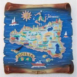 Pergamena Sicilia in resina cm 18x18