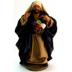 Personaggio per Presepe con frutta cm 12 terracotta e stoffa