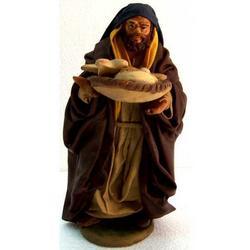 Personaggio per Presepe con pane cm 15 terracotta e stoffa