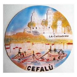 Piattino ricordo Cefalu in resina con magnete cm 10x10