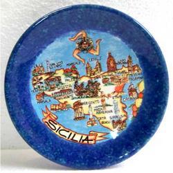 Piattino in ceramica con Sicilia cm 12.5