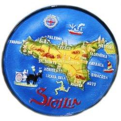 Piatto rilievo Sicilia in ceramica cm 16