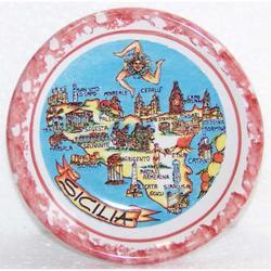 Piatto Mappa Sicilia in ceramica cm 8