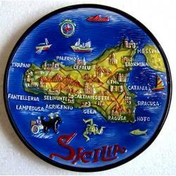 Piatto con mappa Sicilia cm 12 in resina