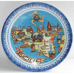 Piatto Mappa Sicilia in ceramica cm 20