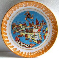 Piatto Mappa Sicilia in ceramica cm 24