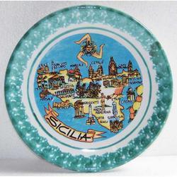 Piatto ceramica con mappa Sicilia cm 18