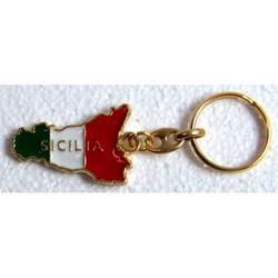 Portachiave Souvenir con Sicilia Tricolore in metallo cm 4x3
