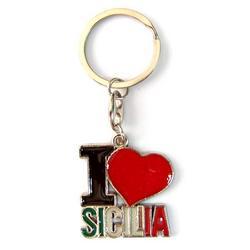 Portachiave cuore Sicilia in metallo cm 3.5x3.5