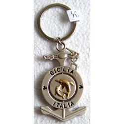 Portachiave souvenir ad Ancora con delfini in metallo cm 6.5x3.5