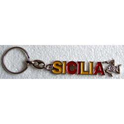 Portachiave scritta Sicilia con Trinacria in metallo cm 8x1.5
