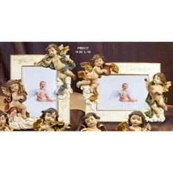 Set di 2 portafotografie con angeli in resina cm 20x16