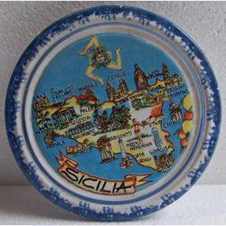Porta Moka con mappa Sicilia in ceramica cm 12
