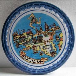 Portapentola mappa Sicilia in ceramica cm 23