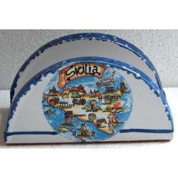 Portatovaglioli con Sicilia in ceramica cm 11.5x6x5.5