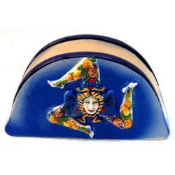 Portatovaglioli in ceramica con trinacria cm 15