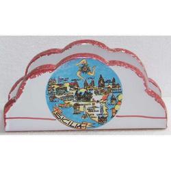 Portatovaglioli con Sicilia in ceramica cm 16x8x5.5