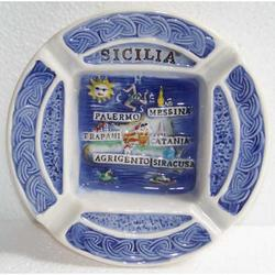 Posacenere con Sicilia in ceramica cm 12 AS3988