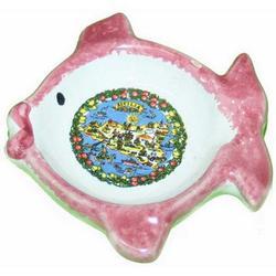 Souvenir Posacenere Pesce con Sicilia in ceramica cm 8