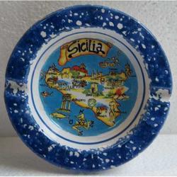 Posacenere con mappa Sicilia in ceramica cm 10