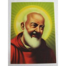 Poster di Padre Pio plastificato da cm 34x24