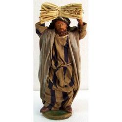 Personaggio per Presepe con fascina cm 15 terracotta e stoffa