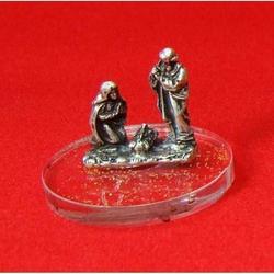 Presepe in metallo argentato con base in plex h 25 mm