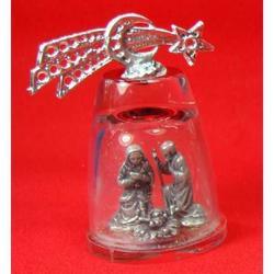 Presepe in metallo argentato con campana di vetro h 70 mm