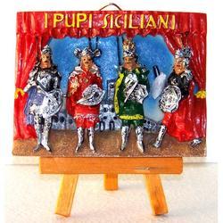 Quadretto con cavalletto Pupi Siciliani in resina cm 9.5x7.5