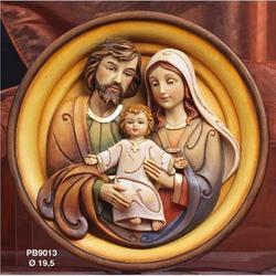 Quadro con Sacra Famiglia cm 19.5 in resina