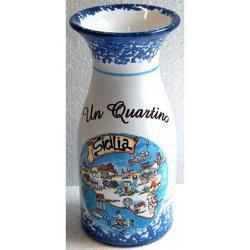 Quartino in ceramica con mappa Sicilia cm 15x6.5