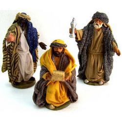 Set 3 Remagi in terracotta con abiti in stoffa cm 15
